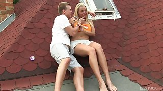Tow-haired babe Nickname teases with the brush pussy and gets fucked in outdoors