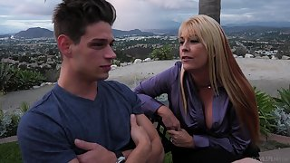 A feeble-minded young man gets the fucking he's been craving and that lady is insatiable
