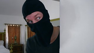 POV home intercourse forth the busty wife together with a masked robber