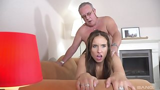Gorgeous Azure Angel is not dissatisfied by this old man's fuck ability
