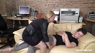 Cock starved mature German lady wakes up her stepson with vocalized sexual connection