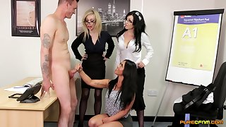 Good-looking pornstar Chessie Kay and her friends please an crude suppliant