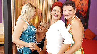 Four Old And Young Lesbians Having A Belt On Bed - MatureNL