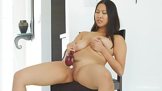 Asian with big unsophisticated jugs, crazy toying greater than cam
