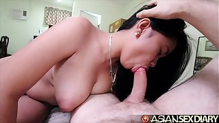 Asian Sex Diary - Sexy young MILF gets big white flannel