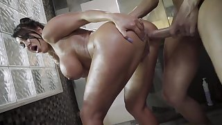 Gorgeous mom roughly fucked in the shower by horny step son