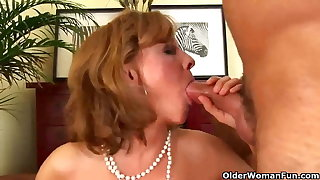 Classy old woman gives head and gets fucked