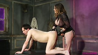 Sex-crazy mistress Madeline Marlowe fucks dude's anus with strapon and fist