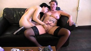 Old lady and a young sapphic lube up and mad about toys