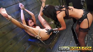 Lezbo dungeon BDSM session with Marina Angel, Abella Danger and Esmi Lee