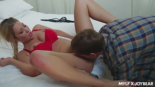 Itchy blondie likes it when the young lad fucks her as a result good