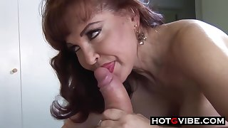Matured milf nigh erotic, black stockings got her daily dose of fuck, from the thither