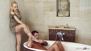 Exciting mart woman is having casual sex with her handsome step- son, in the bathroom